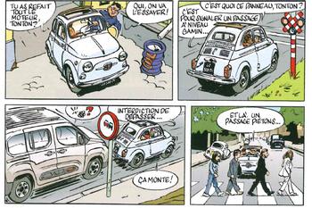 Una 500 a fumetti per la rivista Gazoline