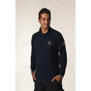 Blue Long Sleeve Polo Shirt with three-color edges